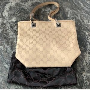 Authentic Beige Gucci Canvas Tote Bag